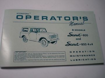 Picture of IH Owners/Operators Manual, 1965-68 Scout 800