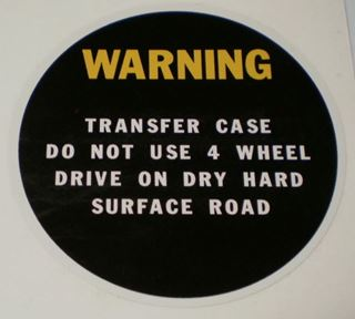 Picture of Transfercase Warning Decal for 60s/70s Pickup and Travelall