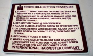 Picture of 1979-80 Engine Idle Setting Decal, Scout II