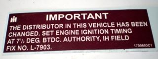 Picture of Engine Distributor Recall Decal Scout II 1979-80