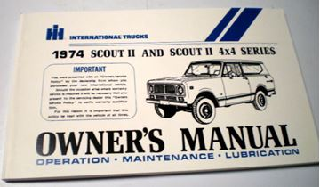 Picture of IH Owners/Operators Manual, 1974 Scout II