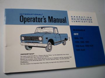 Picture of IH Owners/Operators Manual, 1972 Pickup