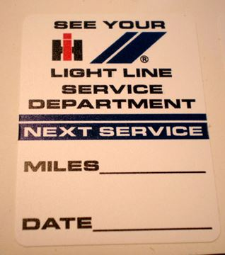 "Picture of IH Light Line Service ""Next Service"" Decal"