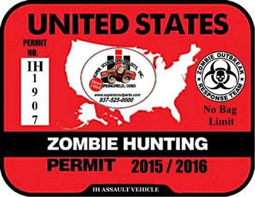 Picture of sSs Zombie Hunting Permit - Decal