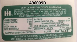 Picture of 345 Engine Emission Decal, 1979