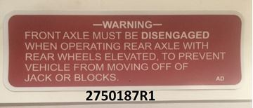 Picture of Front Axle Warning Decal