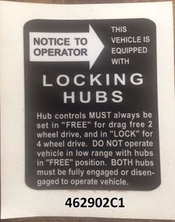 Picture of Early Locking Hub Decal(Small)
