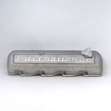 Picture of International Script Aluminum Valve Cover for IH SV engines, Scout, Scout II, Pickup Travelall -