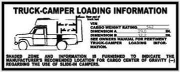 Picture of Camper Loading Sticker, 69-75 Pickup